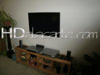 Wall mounted TV in living room, Silver Lake, Los Angeles CA